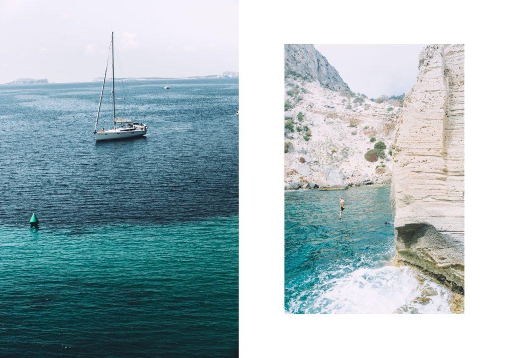 Bateau et un homme qui saute d'une falaise en Corse